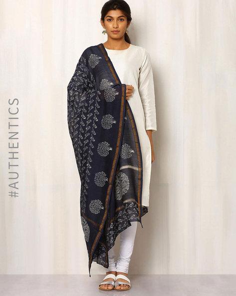 Hand Block Print Chanderi Dupatta By Keri ( Indigo ) - 460014727001