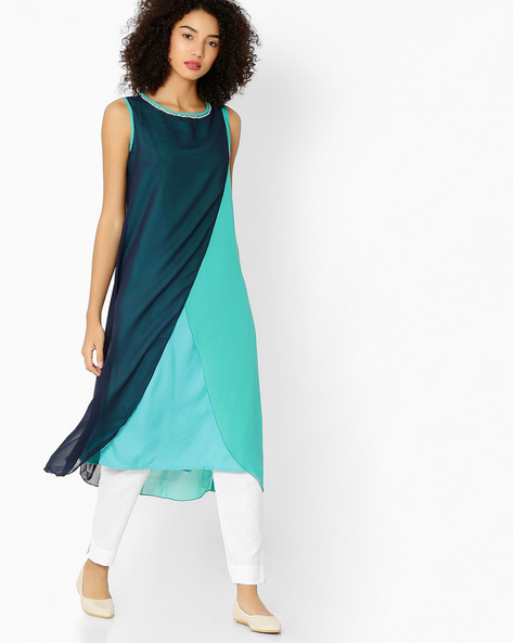 Sleeveless Kurta With Overlapping Front By AVAASA MIX N' MATCH ( Navy )