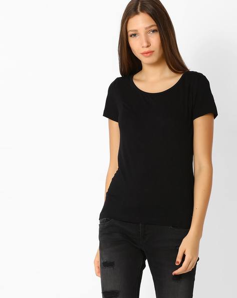 T-shirt With Scoop Back By Only ( Black )