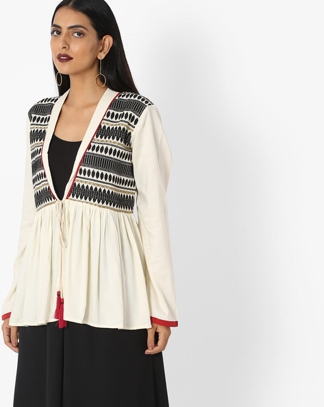 Open-Front Tunic With Embroidered Yoke By Akkriti By Pantaloons ( Offwhite )