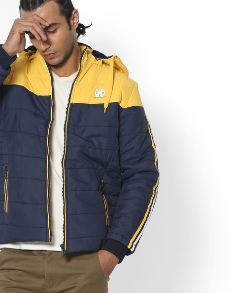 Colourblock Quilted Jacket With Hood By Fort Collins ( Navyblue )