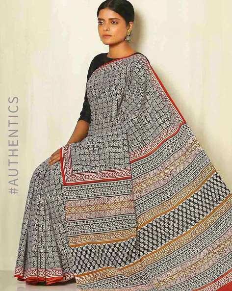 Sanganeri Handblock Print Cotton Mull Saree By Awdhesh Kumar ( Multi ) - 460051556001