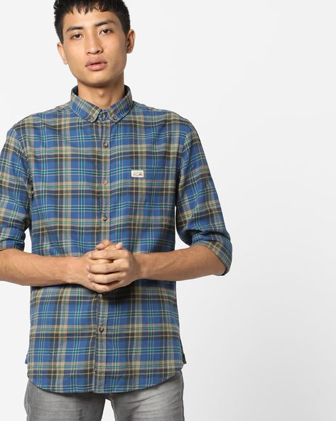 Slim Fit Checked Cotton Shirt By US POLO ( Blue )
