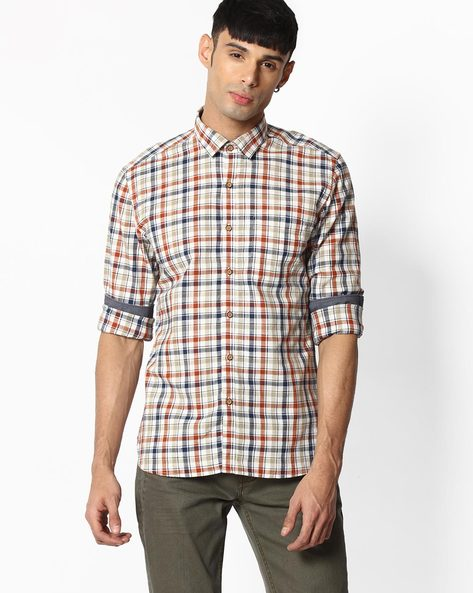 Checked Shirt With Patch Pocket By NETPLAY ( Orange )