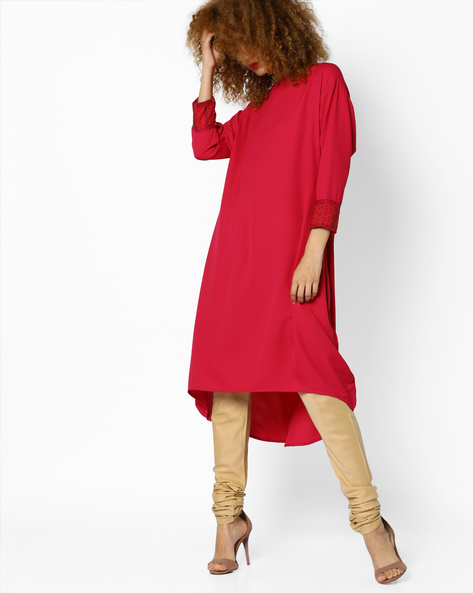 High-Low Dress With Embroidery By AJIO ( Magenta )