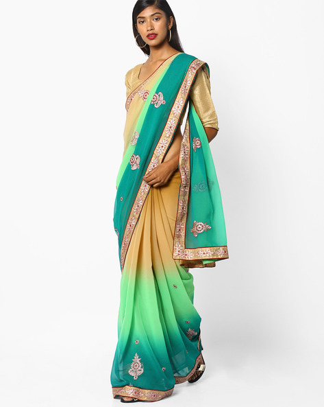 Ombre-Dyed Saree With Embroidery By Florence ( Multi )