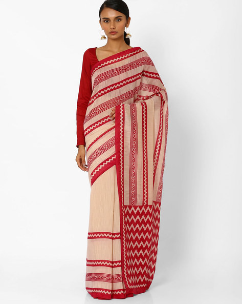 Printed Saree With Contrast Border By Akoya ( Rose )