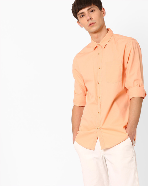Slim Fit Shirt With Curved Hem By Jack & Jones ( Orange )