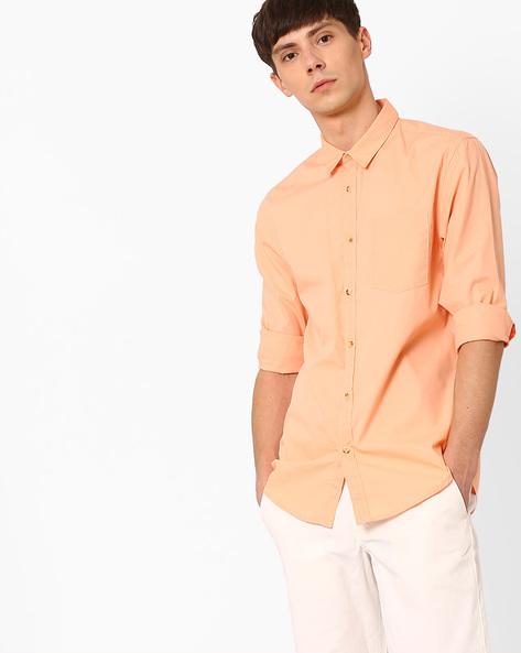 Slim Fit Shirt With Curved Hem By Jack & Jones ( Orange )