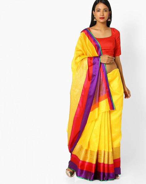Banarasi Silk Saree With Contrast Border By Viva N Diva ( Yellow )