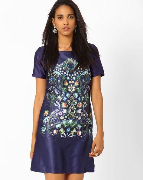 Jewel Print Shift Dress By AJIO ( Navyblue )