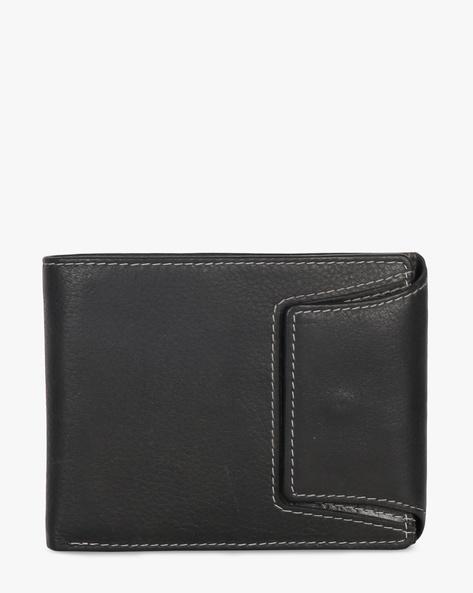 Leather Bi-Fold Wallet By TEAKWOOD LEATHERS ( Black )