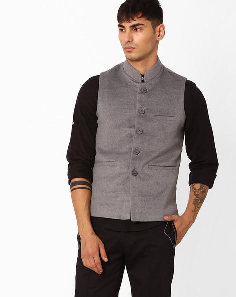 Regular Fit Nehru Jacket By DUKE ( Grey )