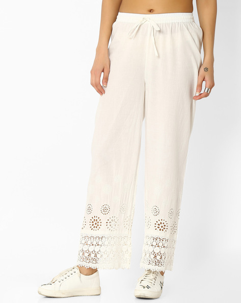 Palazzo Pants With Cut-Outs By Melange By Lifestyle ( Offwhite )