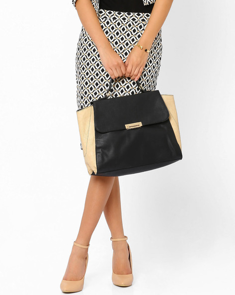 Colour-Block Tote With Top Handle By AJIO ( Black )