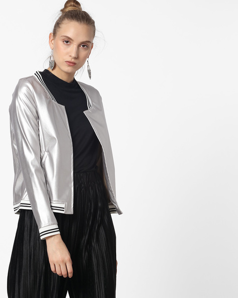 Bomber Jacket With Floral Embroidery By Ginger By Lifestyle ( Silver )
