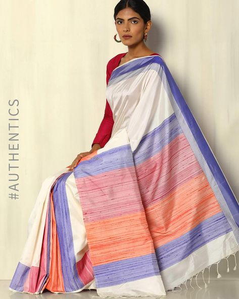 Handloom Pure Silk Saree By Pretty Woman ( Offwhite )