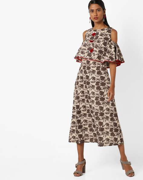Printed Cold-Shouldered Midi Dress By Desi Fusion ( Brown )