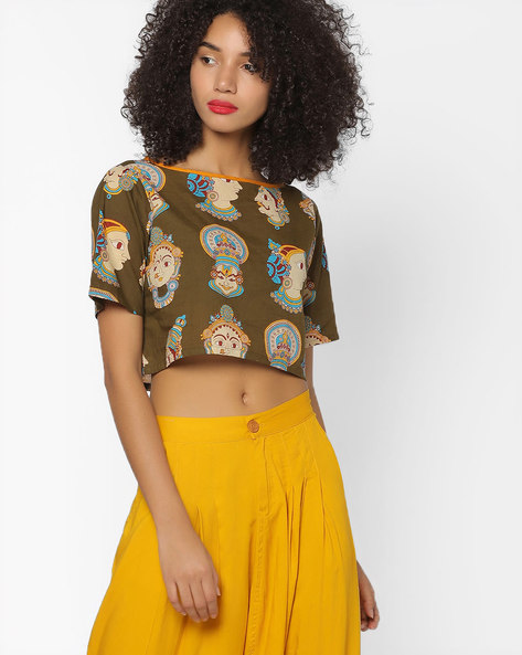 Art Deco Print Top With Cutout By Desi Weaves ( Olive )