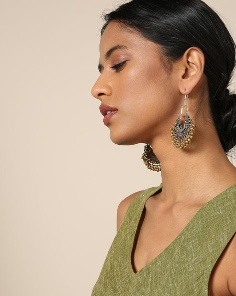 Dual-Toned Brass Chandbali Earrings By GYPSYJ ( Gold )