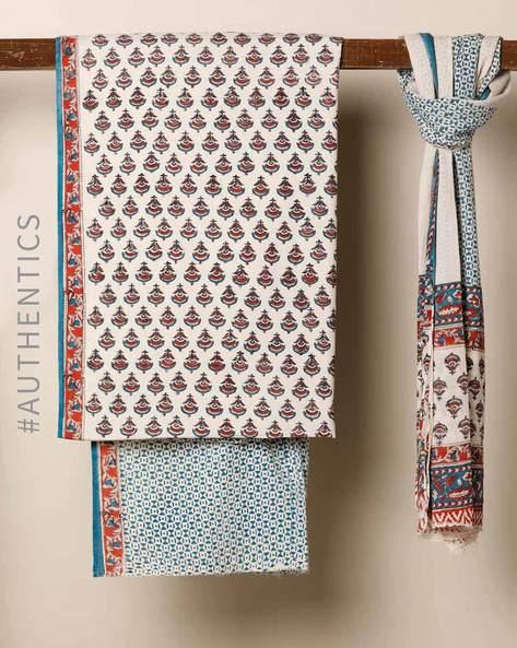 Bagru Handblock Print Cotton 3-Piece Dress Material By Indie Picks ( Blue ) - 460178666001