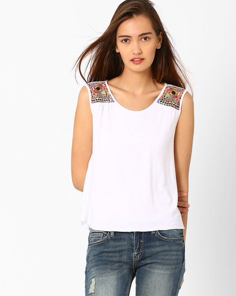 Sleeveless Embroidered Top By Global Desi ( White )