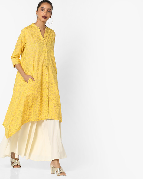 Printed Kurta With Dipped Hemline By Project Eve IW Casual ( Yellow )