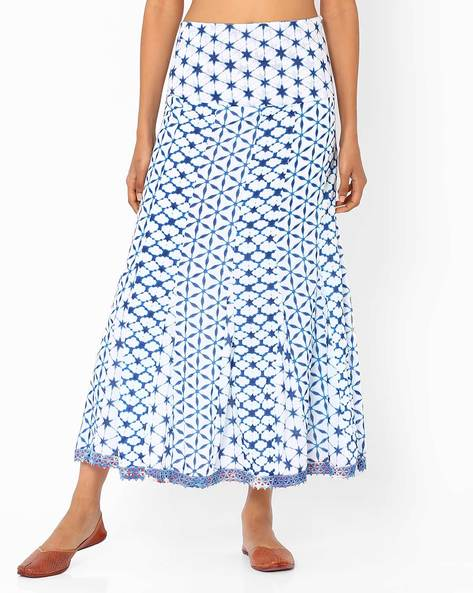 Printed Cotton Maxi Skirt By Biba ( White )