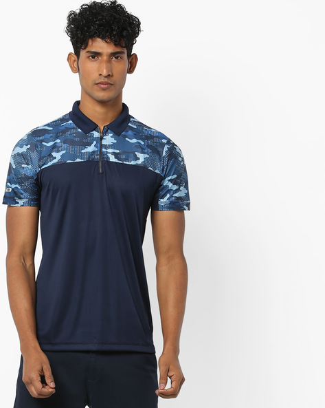 Colourblock Polo T-shirt With Zip Placket By PROLINE ( Navy )