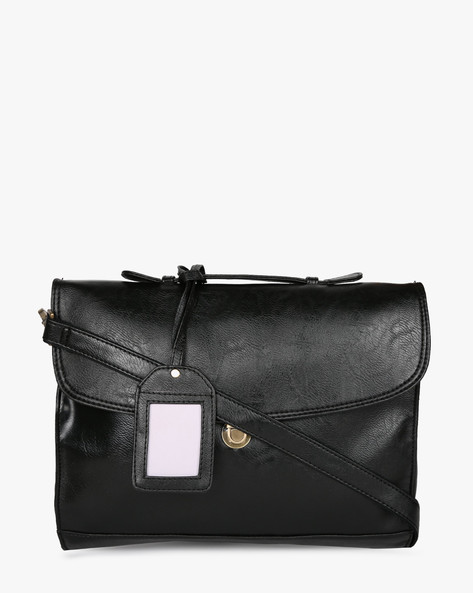 Messenger Bag With Detachable Strap By Purseus ( Black )