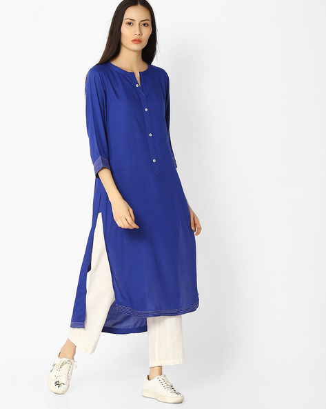 High-Low Kurta With Button Placket By Jaipur Kurti ( Blue )