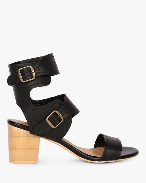 Ankle-Wrap Chunky Heel Sandals By AJIO ( Black )