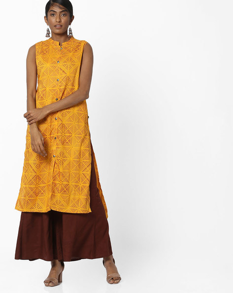 Printed Straight Kurta With High-Low Hem By AVAASA MIX N' MATCH ( Mustard )
