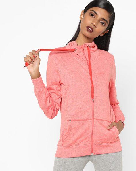 Heathered Sweatshirt With Front Zipper By Lee ( Orange )