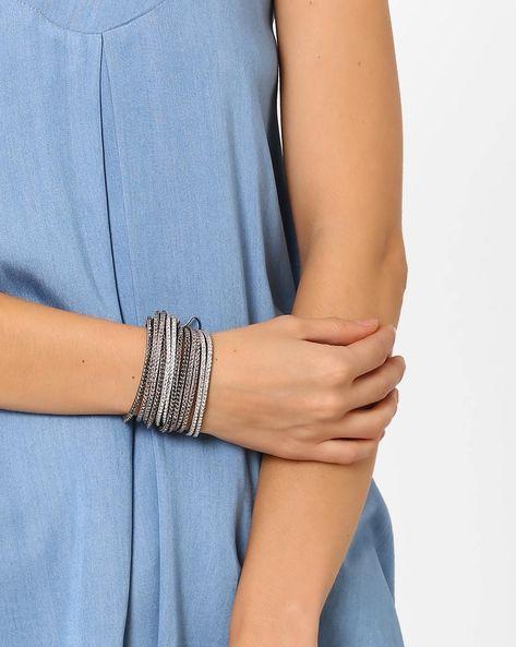Faux-Leather Studded Bracelet By Ayesha ( Grey )