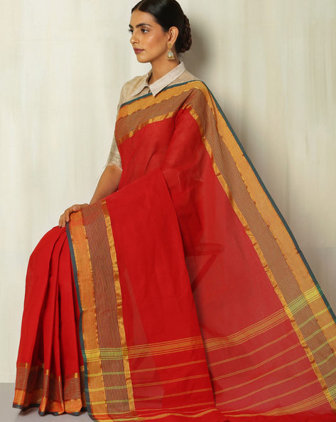 Kanchi Cotton Saree With Woven Border By Indie Picks ( Red )