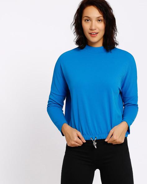 High-Neck Sweatshirt With Drawstring By RIO ( Blue )