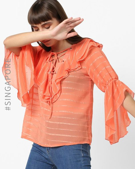 Striped Ruffled Top With Tie-Up By OEUVRE ( Orange )