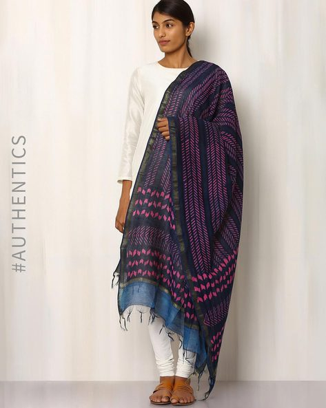 Hand Block Print Chanderi Dupatta By Indie Picks ( Multi )