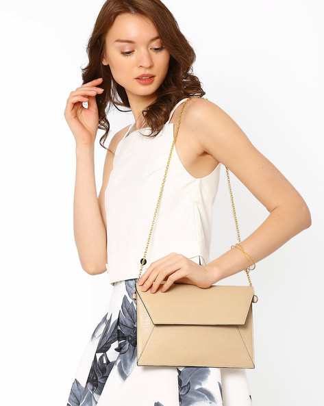 Saffiano Envelope Sling Bag By AJIO ( Beige )