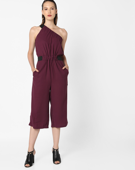 One-Shoulder Jumpsuit With Elastiction By AJIO ( Purple )