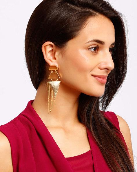Gold-Plated Drop Earrings By Ssoul ( Beige )