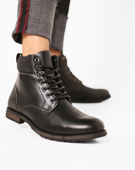 High-Top Lace-Up Boots By Bond Street By Red Tape ( Black )