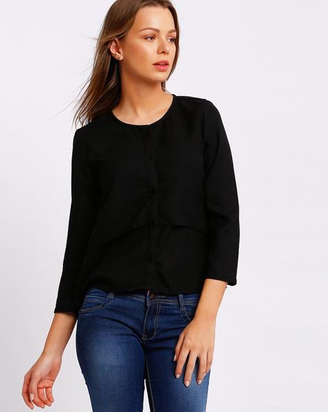 Round Neck Layered Shirt By RIO ( Black )