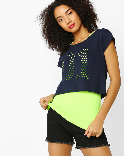 Twofer Top With Cut-Outs By Teamspirit ( Lime )