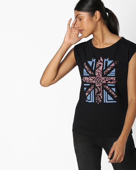 Printed T-shirt With Cap Sleeves By Pepe Jeans ( Black )