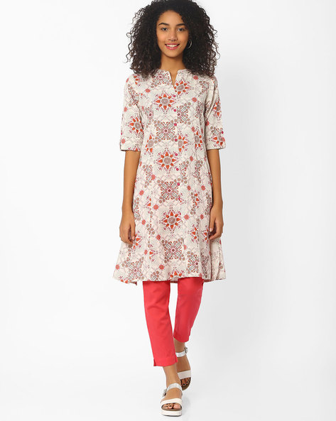 Floral Print Kurta With Roll-Tab Sleeves By AVAASA MIX N' MATCH ( Peach )