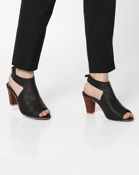 Peep-Toe Mules With Cone Heels By TEASE ( Black )
