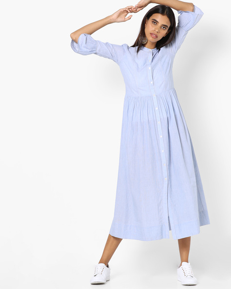 Striped Shirt Dress With Bell Sleeves By AJIO ( Blue )