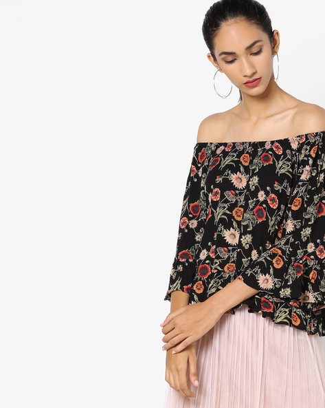 Off-Shoulder Floral Print Top By Ginger By Lifestyle ( Black )